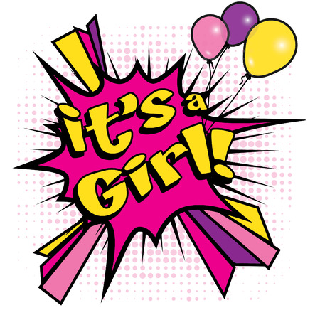 baby girl arrival: Pop Art comics icon Its a girl! Illustration