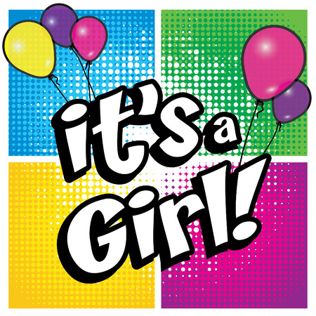 it's: Pop Art comics icon Its a girl! Illustration
