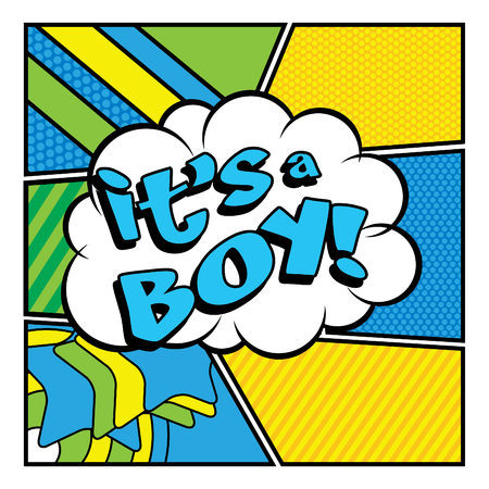 baby boy announcement: Pop Art comics icon Its a boy!