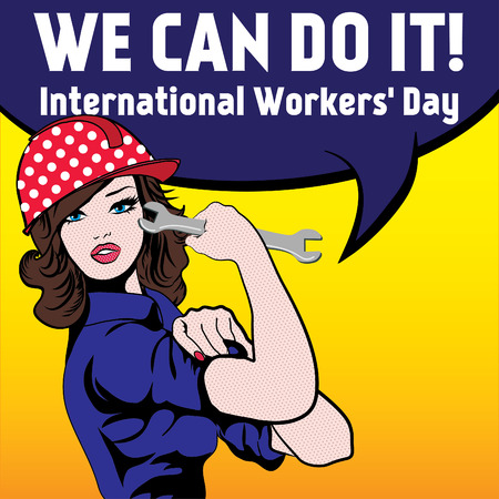 Pop art woman with we can do it international worker's day typography