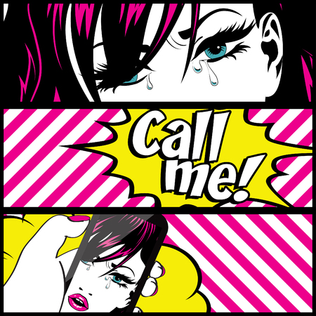 call me: Pop art woman with call me text