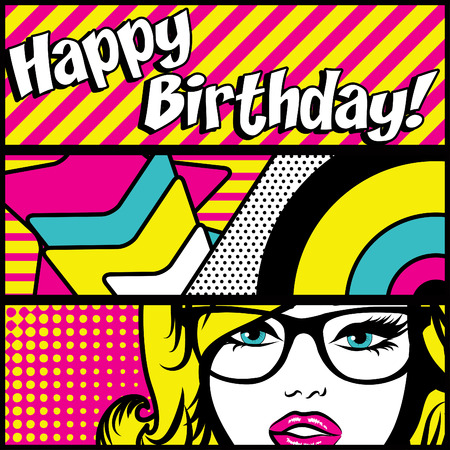 happy woman: Pop art woman with happy birthday typography