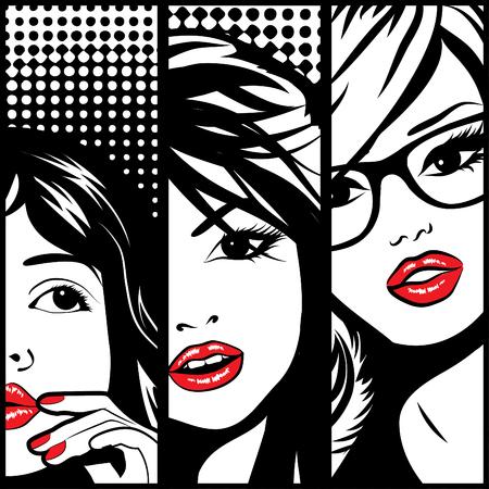 fashion glasses: Three pop art woman