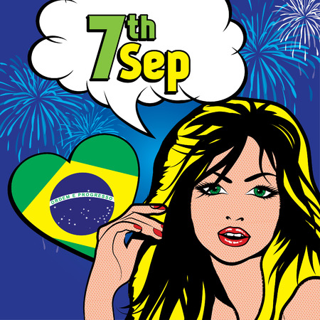 sep: Pop art woman with 7th Sep text