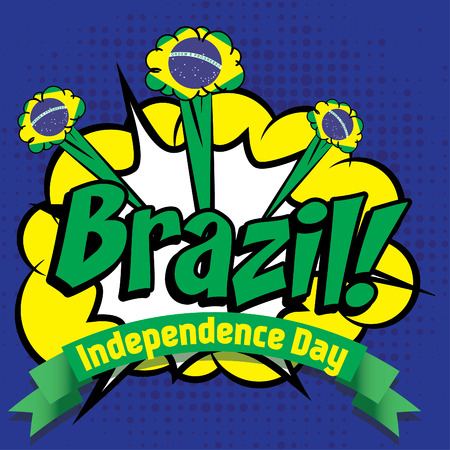 independent day: Pop art woman with Brazil independent day typography Illustration