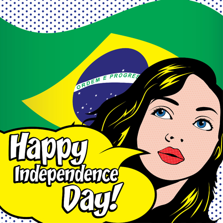 independent day: Pop art woman with happy independent day typography