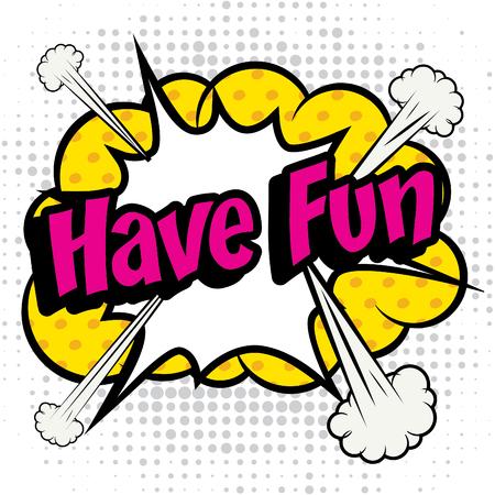 diversion: icono del pop art cómics tienen texto de la diversión