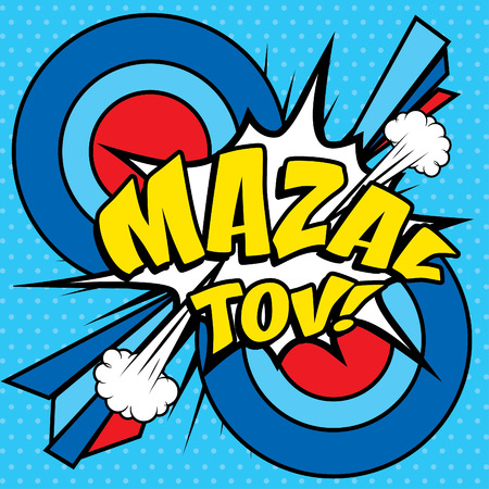 Pop art comics icon mazal tov text Stock Vector - 53503461