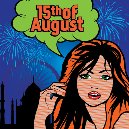15th: Pop art woman with 15th of August typography Illustration