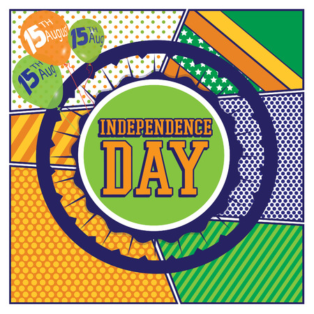 15th: Pop art woman with happy independence day 15th of August typography Illustration
