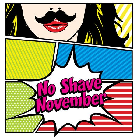 november: Pop art woman with no shave November typography