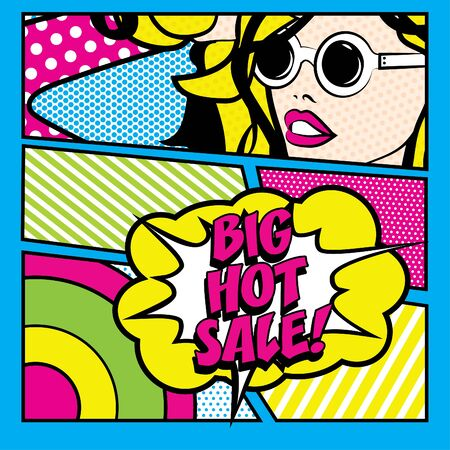 hot woman: Pop art woman with big hot sale typography Illustration