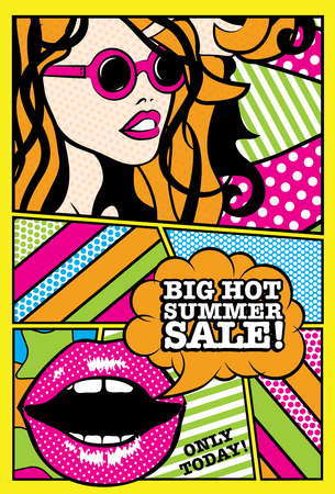 hot woman: Pop art woman with big hot summer sale typography