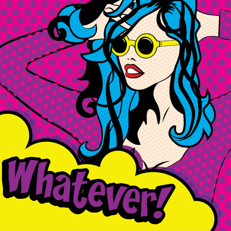 whatever: Pop art woman with whatever text