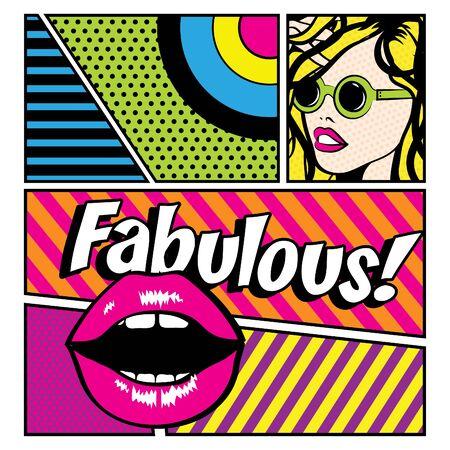 fabulous: Pop art woman with fabulous text Illustration