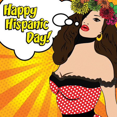 span: Pop art woman with happy hispanic day typography