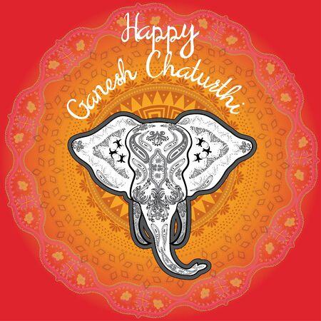 ganesh: El arte pop Ganesh feliz tipografía chaturthi Vectores