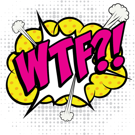 Pop Art comics icon WTF! Illustration
