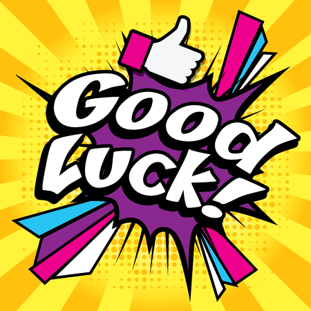 Pop Art comics icon Good Luck Illustration