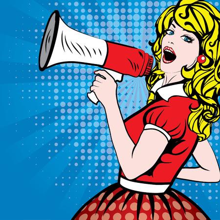 megafono: Pop arte de la mujer con el megáfono
