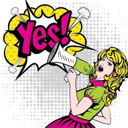 Pop Art Femme avec Megaphone dire Oui! Banque d'images - 52038973