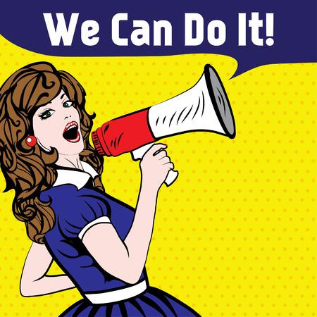 Pop-Art-Frau mit Megaphon zu sagen, wir können es tun! Standard-Bild - 52039021
