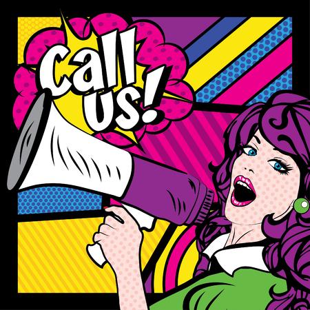 call us: Pop Art Woman with Megaphone saying Call Us! Illustration