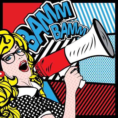 Pop Art Woman with Megaphone saying Bamm Bamm