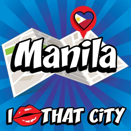 manila: I Love That City with Manila country flag