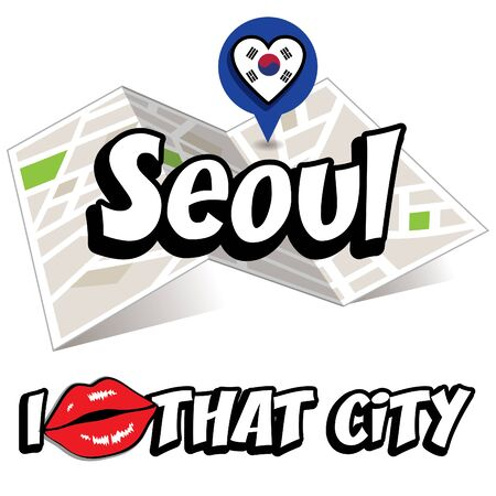 that: I Love That City with South Korea flag