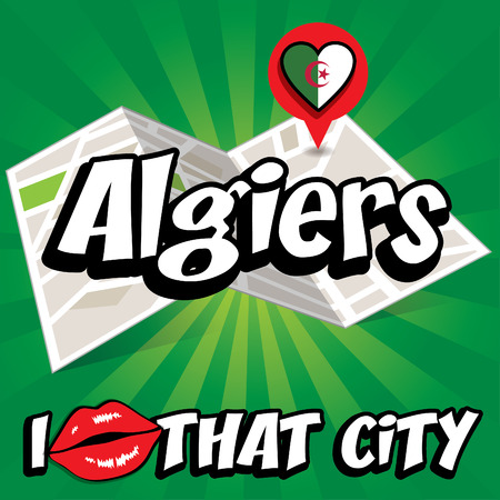 that: I Love That City with Algeria flag