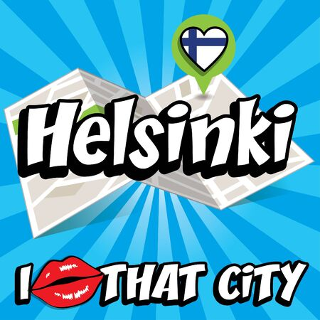 finland flag: I Love That City with Finland flag Illustration