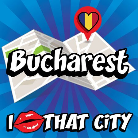 that: I Love That City with Romania flag