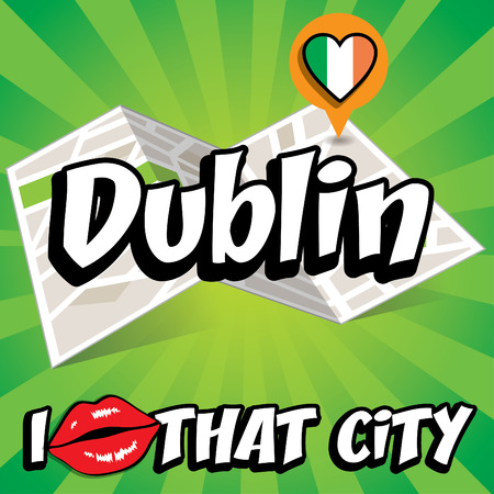 that: I Love That City with Ireland flag Illustration