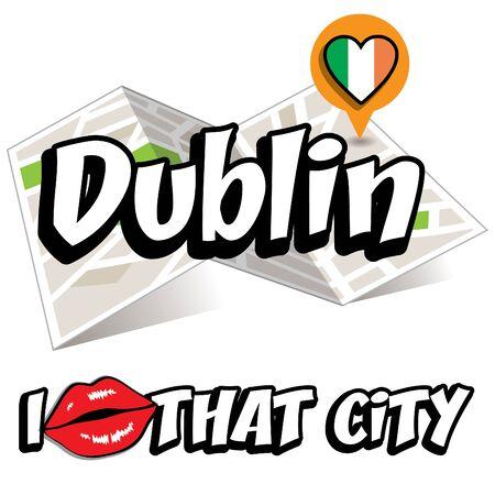 ireland cities: I Love That City with Ireland flag Illustration