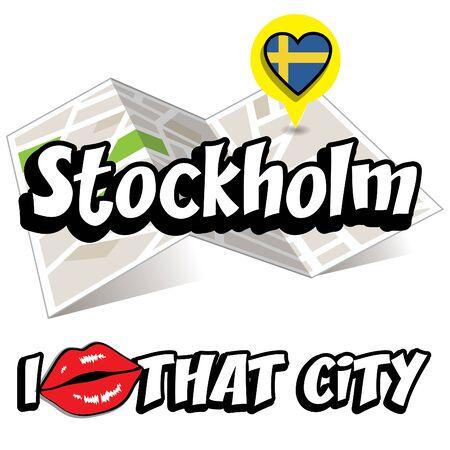 sweden flag: I Love That City with Sweden flag