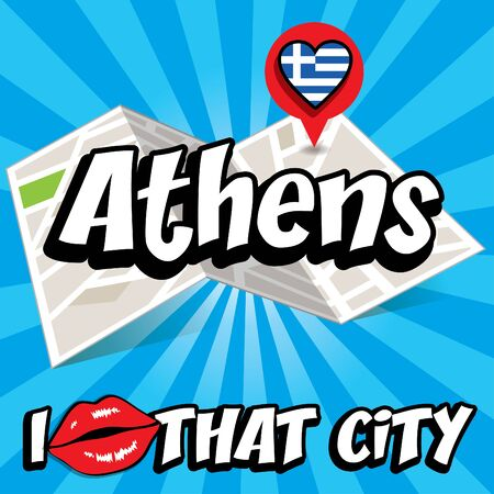 greece flag: I Love That City with Greece flag