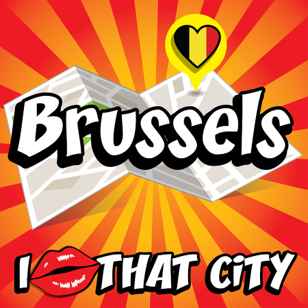 that: I Love That City with Belgium flag