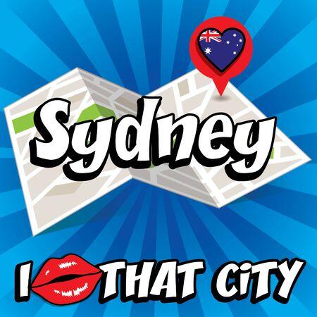 that: Pop art Sydney and I love that city typography Illustration