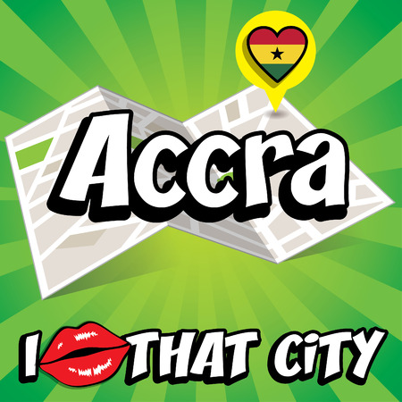 that: Pop art Accra and I love that city typography