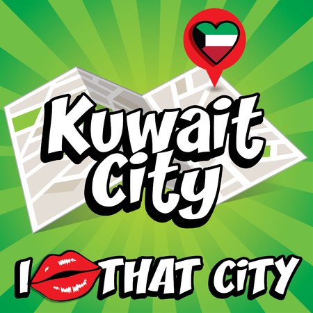 that: Pop art Kuwait City and I love that city typography