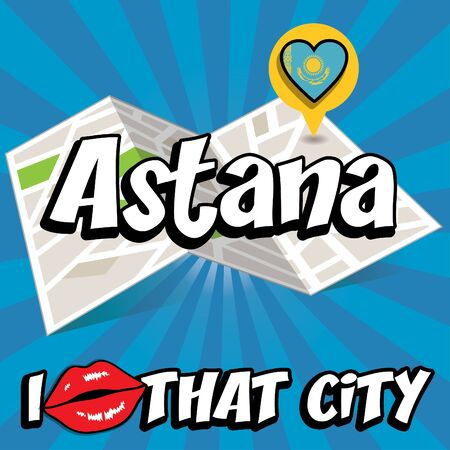 that: Pop art Astana and I love that city typography
