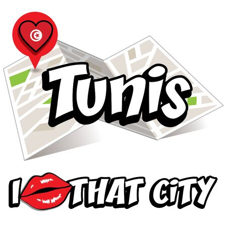 that: Pop art Tunis and I love that city typography Illustration