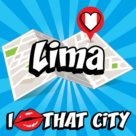 that: Pop art Lima and I love that city typography