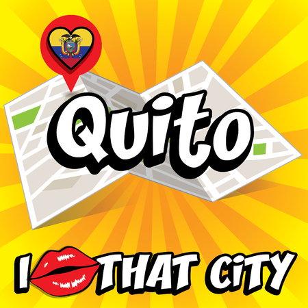 that: Pop art Quito and I love that city typography Illustration