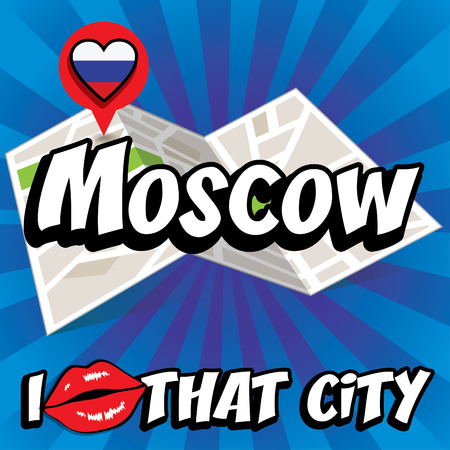 that: I Love That City with Russia country flag