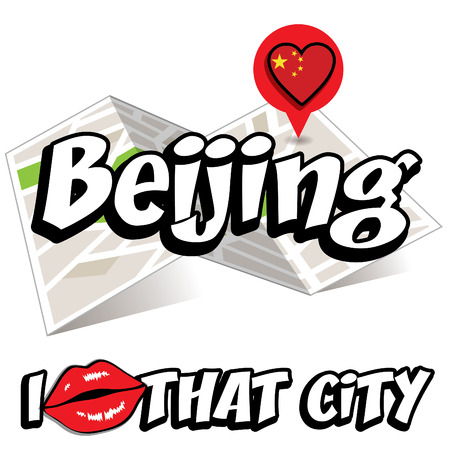 that: I Love That City with China country flag Illustration