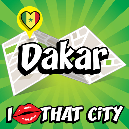 dakar: I Love That City with Senegal country flag