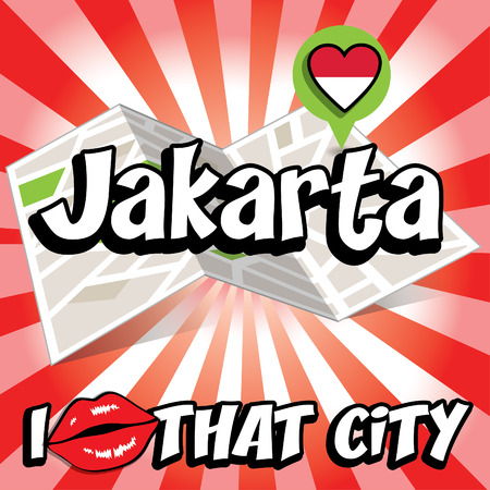 that: I Love That City with Indonesia country flag