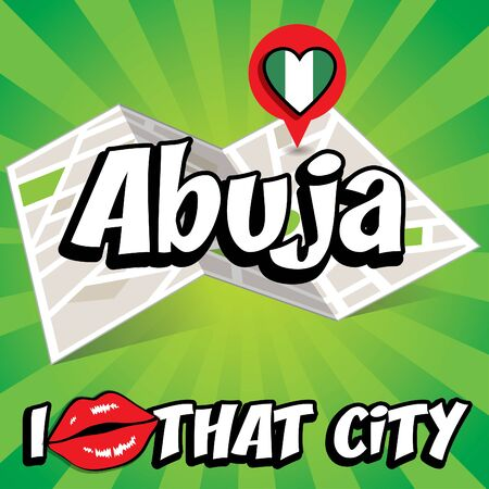 that: I Love That City with Nigeria country flag